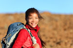 Smiling Lady hiker with backpack