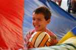 A child plays parachute