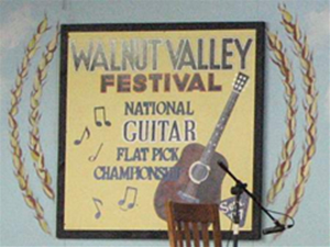 A Walnut Valley Festival sign