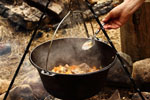 Pot cooking on a campfire