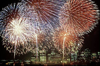 4th of July fireworks over Philadelphia, Pennsylvania