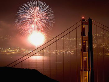 4th of July Fireworks over the bay by the Golden Gate Bridge