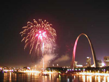 4th of July fireworks over the St. Louis Arch, Missouri