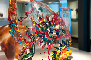 Colorful glass fish at the Corning Glass Museum