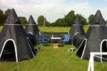Black Gigwam Tent System in U shape configuration