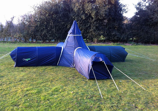 Blue Gigwam Tent System in X shape configuration.