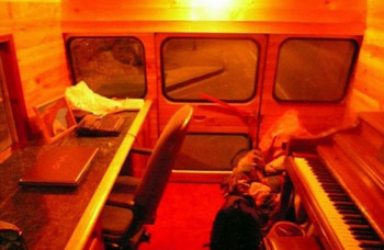 Interior shot of RV bus Music studio