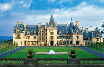 Palatial Biltmore Estate, manicured garden and house