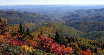 Fall Foliage and views of mountains and valleys from Devil's Courthouse