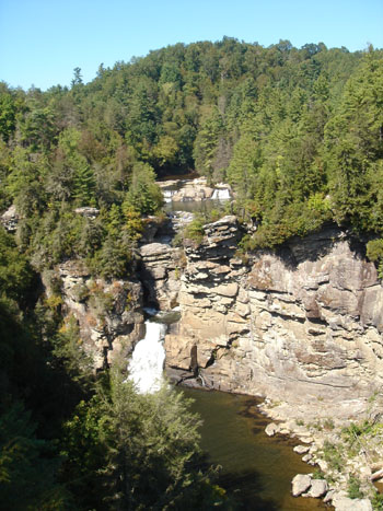 Looking down on Linville Falls