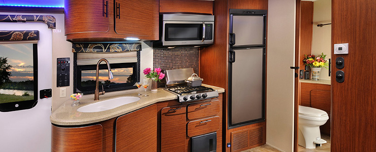Interior Kitchen in the Aviator Trailer with modern home applicances