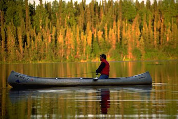 Canoe fishing, Kenai Wildlife Refuge