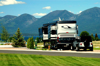 Motorcoach on RV site at Polson Motorcoach and RV Resort MT