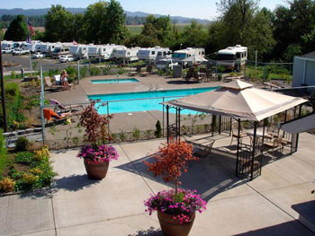 Aerial view of the pool and RV sites at Premier RV Resort Salem