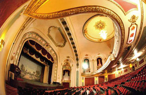 Coleman Theatre looking at stage with balcony overhead