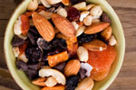 A healthy trail mix with dried fruits and nuts