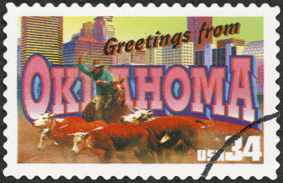 Greetings from Oklahoma vintage postage stamp