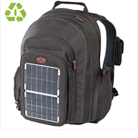 Solar powered black backpack