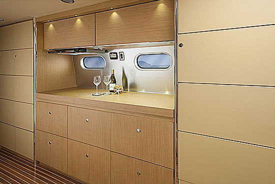Airstream Land Yacht galley covered when not in use
