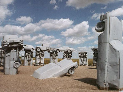 Carhenge - gray cars sticking out of the ground