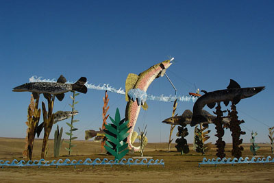 Fish statues on the Enchanted Highway, ND