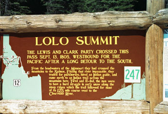 Sign at Lolo Summit outlining the Lewis and Clark trail through Idaho