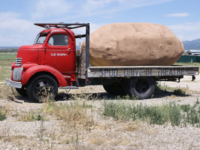 Large potatoe on a truck at Spud Drive-In Theater, Driggs Idaho