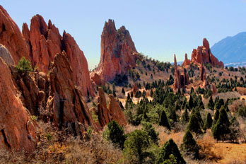 Astounding rock formations in the Garden of the Gods, CO