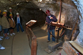 Mollie Kathleen Gold Mine Tour in the mineshaft