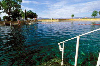 Crystal clear blue water at Balmorhea State Park swimming pool