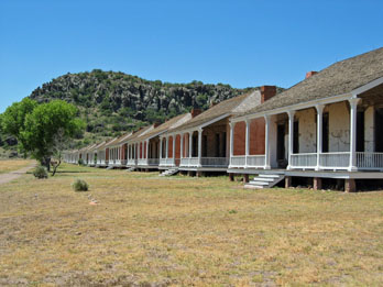 Row of houses that make up the living quarters at Fort Davis National Historic Site