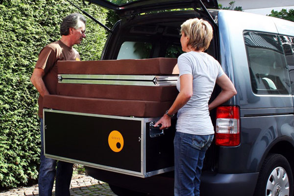 The QUQUQ fits easily in the back of a van or an SUV.