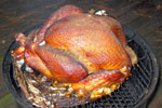 Turkey on camp fire grill