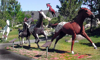 Several horse statues at Hubbarb Museum of the West