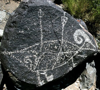 Petroglyph of a ram stuck with two arrows, Three Rivers NM