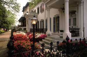 Row of colonial houses in Savannah
