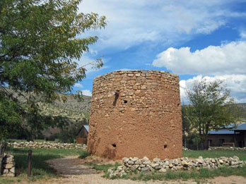 Torreon a 20-foot high round stone tower, part of the Lincoln State Monument, Lincoln NM