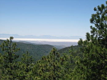 View of White Sands and Tularosa Basin from Osha Trail