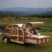 Bulleit Frontier Whiskey Woody-Tailgate Trailer open showing drinks at a bar