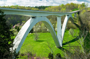 Double Arched Bridge over Highway 96 Natchez Trace Parkway
