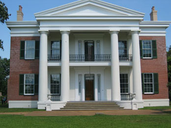 Exterior of Melrose, a Greek revival mansion at Natchez National Historic Park