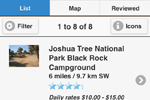 Camp Finder App showing Joshua Tree National Park Black Rock Campground with Photos and Camper Ratings