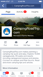 Facebook app showing CampingRoadTrip.com Facebook page
