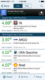 Gas Buddy App showing a list of gas stations and gas prices