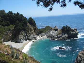 Waterfall and beach at Julia Pfeiffer Burns State Park, CA
