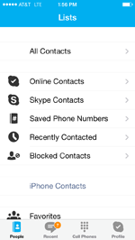 Skype app showing contacts menu