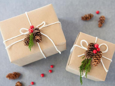 Christmas Gift Wrap with Pine Cones