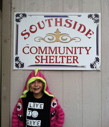 Iyla Helping at Southside Community Shelter, San Marcos, TX