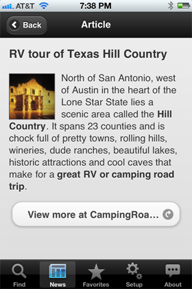 Camp Finder App - Article on RV tour of Texas Hill Country