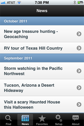 Camp Finder App - News section showing a list of camping and RV articles